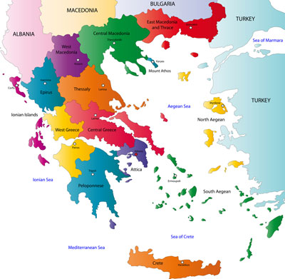 Greece peripheries and capital cities map