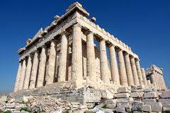 parthenon ruins on acropolis hill - athens, greece